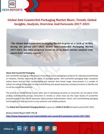 Anti-Counterfeit Packaging Market Share, Industry Growth And Overview 2017-2021: Hexa Reports
