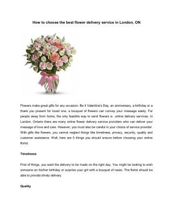 How to choose the best flower delivery service in London, ON