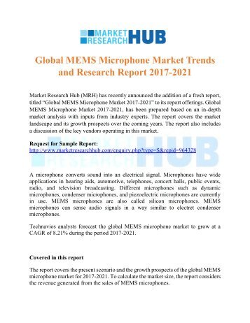 Global MEMS Microphone Market Trends and Research Report 2017-2021