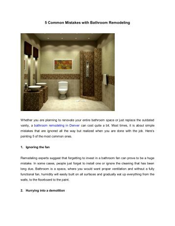 5 Common Mistakes with Bathroom Remodeling