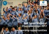 AoC Sport National Championships 2017 Sponsorship opportunities