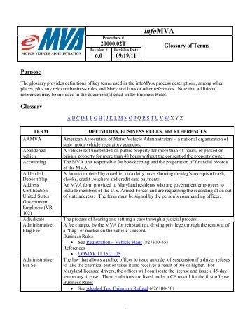 infoMVA - Maryland Motor Vehicle Administration