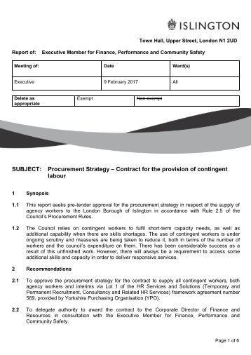 SUBJECT Procurement Strategy – Contract for the provision of contingent labour