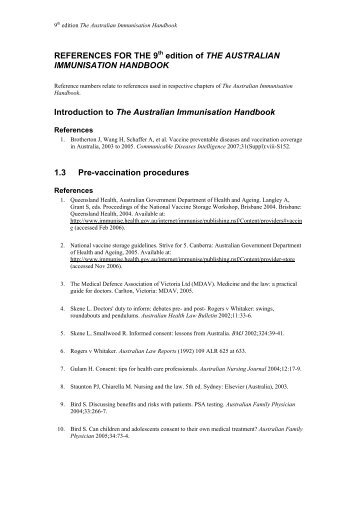 REFERENCES FOR THE 9 edition of THE AUSTRALIAN ...
