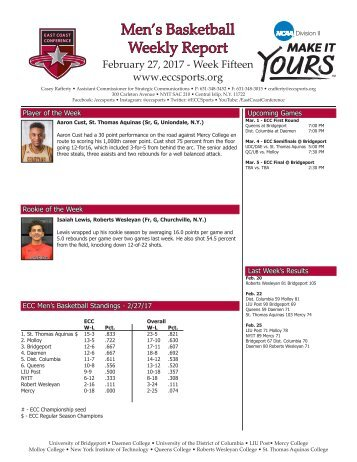 Men's Basketball Weekly Report