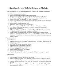 Questions for your Website Designer or Marketer