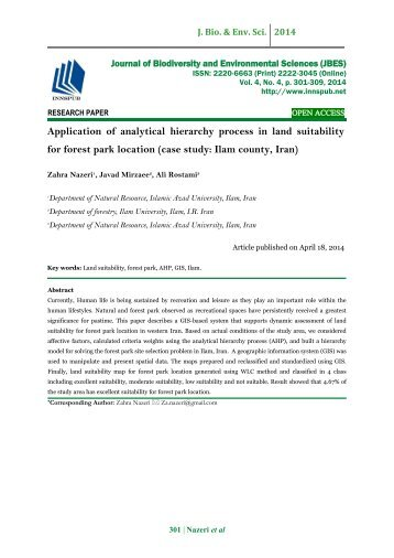 Application of analytical hierarchy process in land suitability for forest park location (case study: Ilam county, Iran)