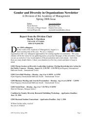 Gender and Diversity in Organizations Newsletter - Academy of ...