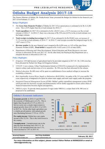 Odisha Budget Analysis 2017-18