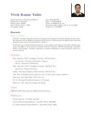 mdb Vivek Kumar Yadav: Curriculum Vitae - iitk.ac.in - Indian ...