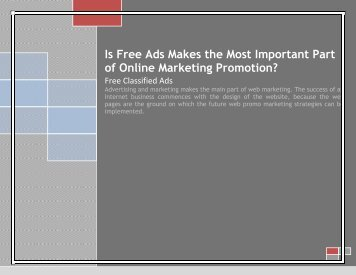 Is Free Ads Makes the Most Important Part of Online Marketing Promotion