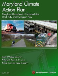 Maryland Climate Action Plan - MDOT Draft 2012 Implementation Plan