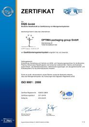 ISO 9001 - OPTIMA Packaging Group
