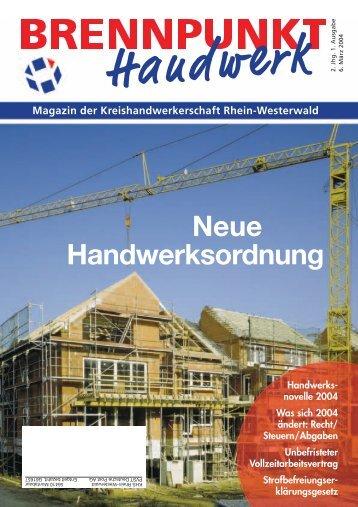 Neue Handwerksordnung - Kreishandwerkerschaft Rhein-Westerwald