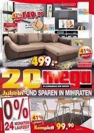 Mega Möbel: Jubeln und Sparen in Miniraten!