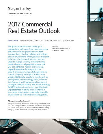 2017 Commercial Real Estate Outlook