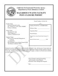 Hazardous Waste Facility Post-closure Permit - the Department of ...