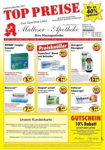 Angebote im März  der Malteser Apotheke Nürnberg