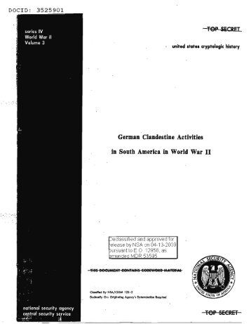 German Clandestine Activities in South America in World War II