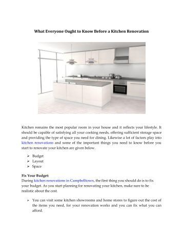 What Everyone Ought to Know Before a Kitchen Renovation
