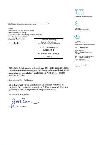 Herrn Hans-Michael Goldmann, MdB Deutscher Bundestag ...