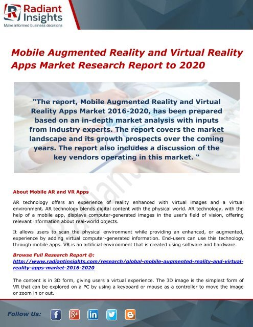 Mobile Augmented Reality and Virtual Reality Apps Market- Growth