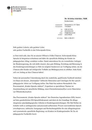 Schreiben der Bundesfamilienministerin Dr ... - Frühe Chancen