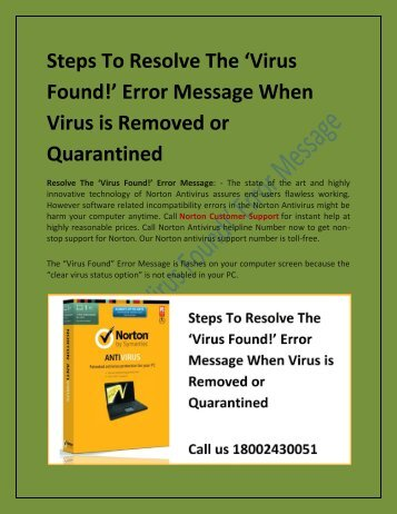 Steps To Resolve The Virus Message