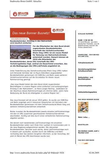 Seite 1 von 1 Stadtwerke-Bonn GmbH: Aktuelles 02.06.2009 http ...