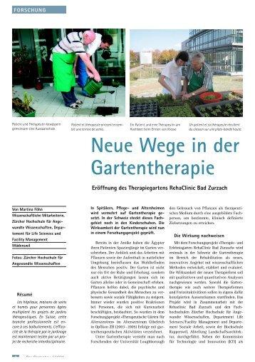 Neue Wege in der Gartentherapie - Fuhrer AG Gartenbau