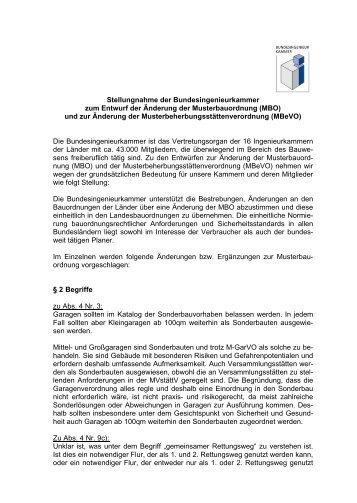 Stellungnahme der Bundesingenieurkammer zum Entwurf der ...
