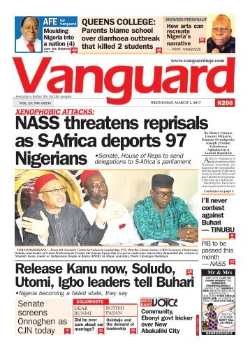 01032017 - XENOPHOBIC ATTACKS: NASS threatens reprisals as S-Africa deports 97 Nigerians