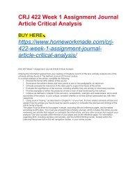 CRJ 422 Week 1 Assignment Journal Article Critical Analysis