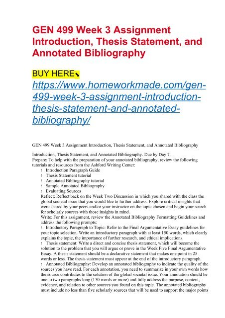 annotated bibliography thesis