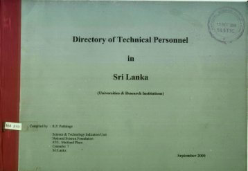 Directory of Technical Personnel in Sri Lanka - NSF Digital Library