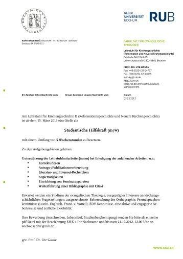 Studentische Hilfskraft (m/w) - Evangelisch-Theologische Fakultät ...