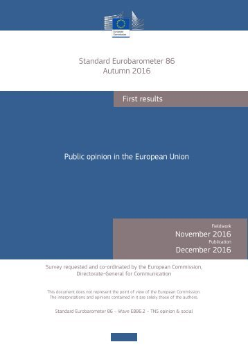 First results Public opinion in the European Union November 2016 December 2016