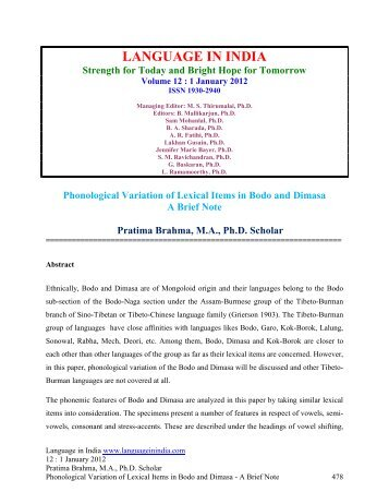 Phonological Variation of Lexical Items in Bodo ... - Language in India