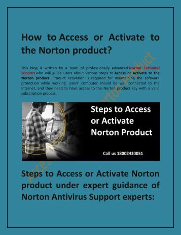 How to Access or Activate Norton Product
