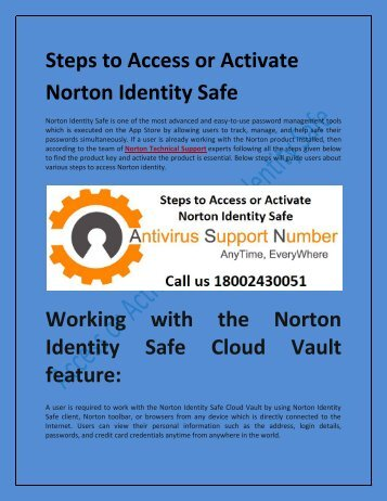 Steps to Access or Activate Norton Identity Safe