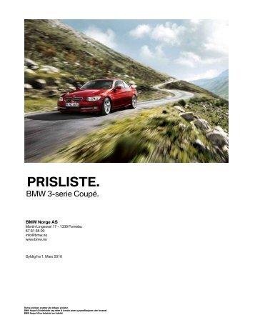 E92 - 3-serie Coupe 03_2010 Veiledende prisliste ... - BMW Norge