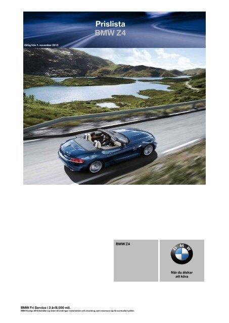 Price List BMW 7-Series Prislista BMW Z4