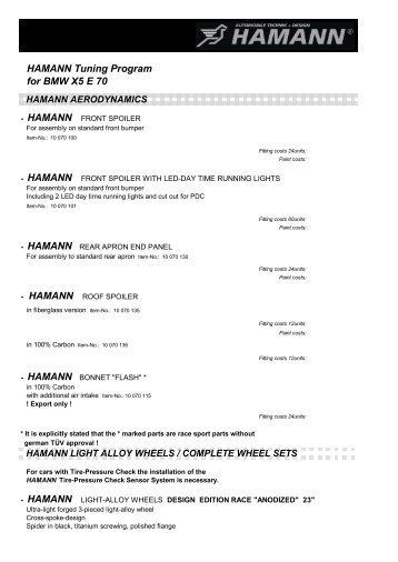 HAMANN Tuning Program for BMW X5 E 70