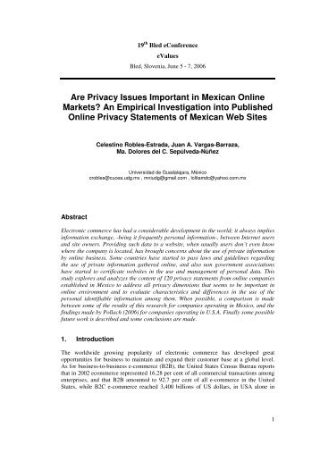 Are Privacy Issues Important in Mexican Online Markets? An ...