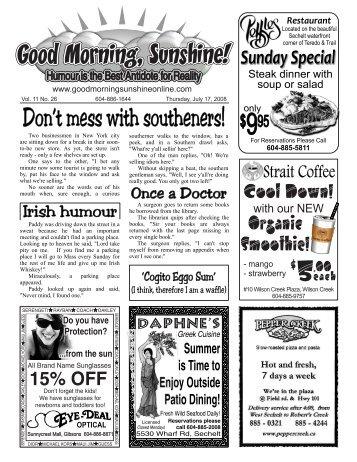 604-886-7303 Sechelt - Good Morning Sunshine.ca