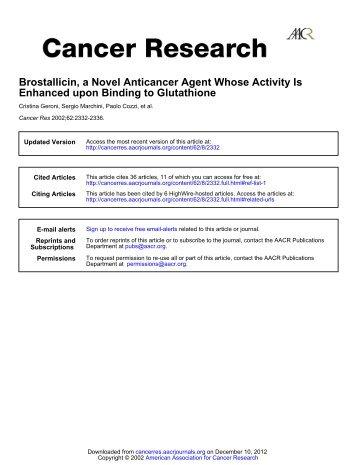 Brostallicin, a Novel Anticancer Agent Whose ... - Cancer Research