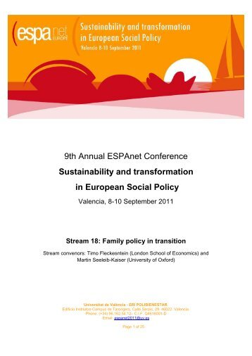 Reform Alliances in German Family Policy - 9th Annual ESPAnet ...