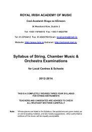 Syllabus of String, Chamber Music & Orchestra Examinations