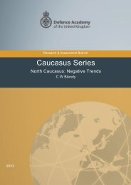 North Caucasus: Negative Trends - Defence Academy of the United ...