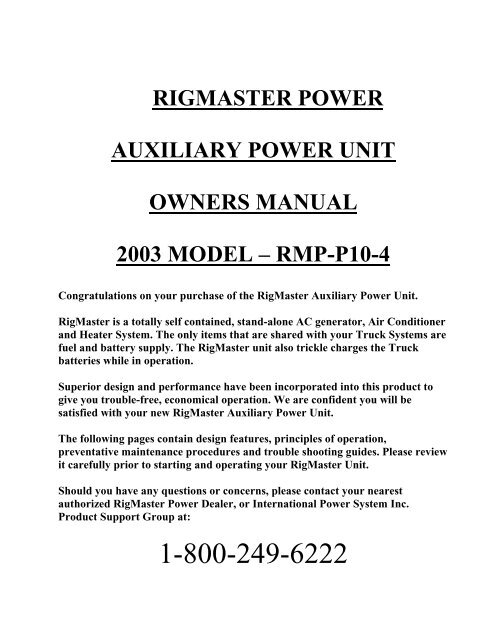 trouble shooting guide rigmaster power  owner& 39;s manual model mts t4 6